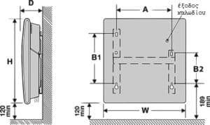 θερμοπομπός Atlantic F129 digital επιτοίχια στήριξη